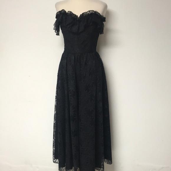 Vintage Dresses | Black Lace Formal Gown | Poshmark